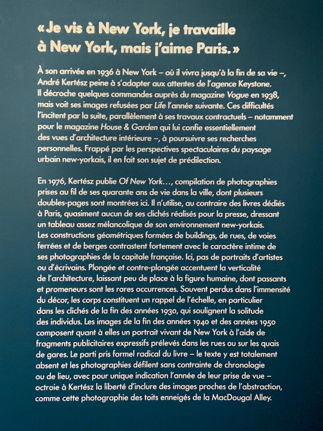 Text from the exhibition 'L'equilibriste, André Kertész' at Jeu de Paume, Château de Tours