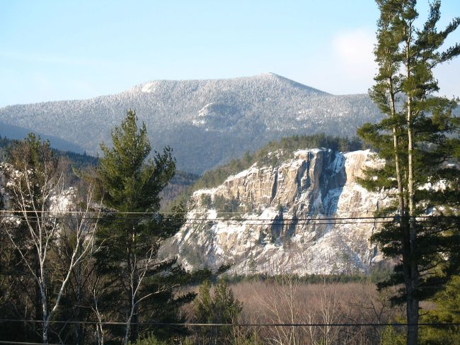 W. Woods. 'North Moat Mountain, looking southwest from Intervale. Cathedral Ledge cliff is in right middle ground' 2006