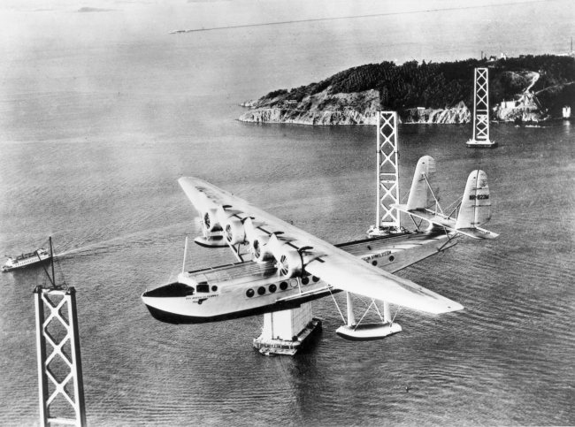 """United Technologies Corporation. 'One-quarter left front view of Pan American Airways Sikorsky S-42 """"Pan American Clipper""""'"""