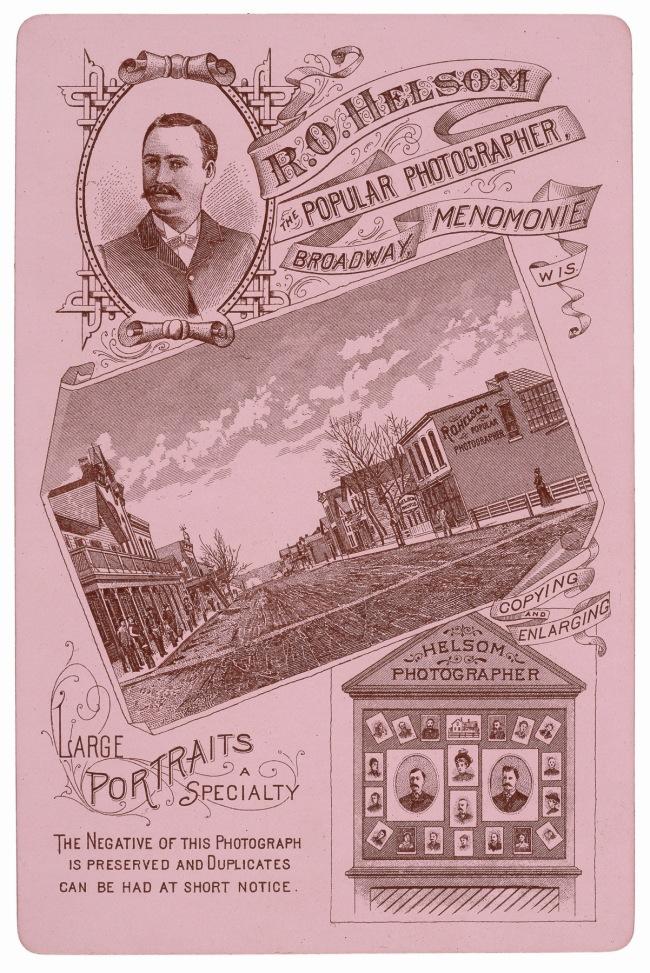 R. O. Helsom, Menomonie, WI. 'Verso' 1880s