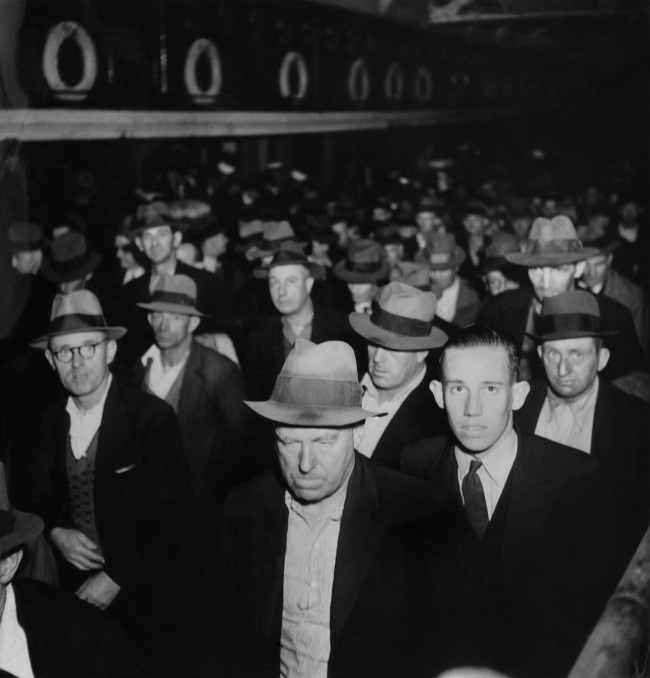 Max Dupain. '(Male Commuters departing Ferry)' Nd
