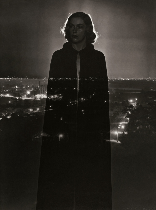 Max Dupain. '(Super-Imposed Woman and Night Cityscape)' 1937