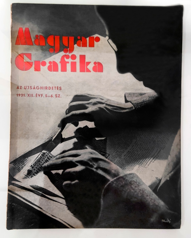 Magyar Grafika (Hungarian Graphics). 'Az Ujság Hirdetés' (The Newspaper is Advertised) Edition 12 1931 (installation view)