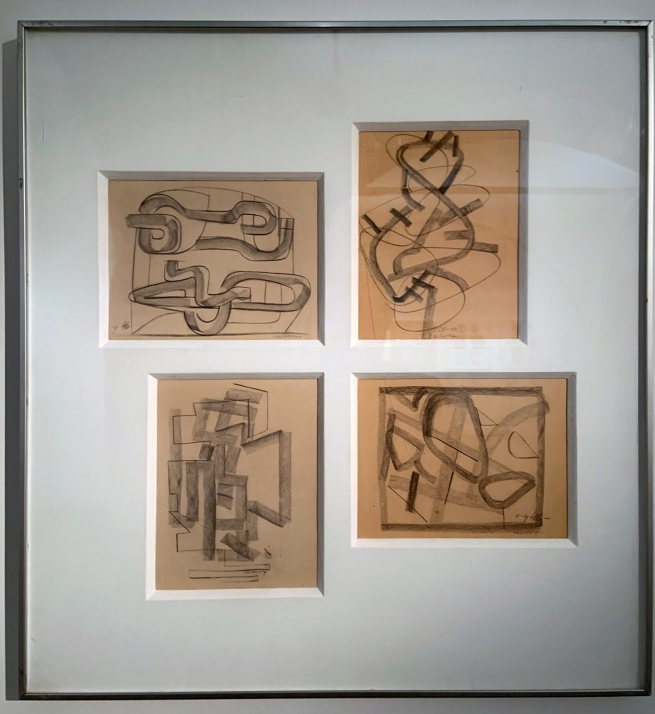 Victor Vasarely (Hungarian-French, 1906-1997) 'Gesture Drawings. Ground Plans' 1946 (installation view)