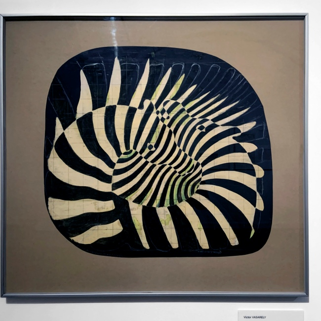 Victor Vasarely (Hungarian-French, 1906-1997) 'Zebras. Prekinetic study (Preliminary study for the kinetic theory. Graphic Period, 1929-1939)' 1939 (installation view)