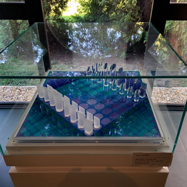 Victor Vasarely (Hungarian-French, 1906-1997) 'Chess Set' 1980 (installation view)