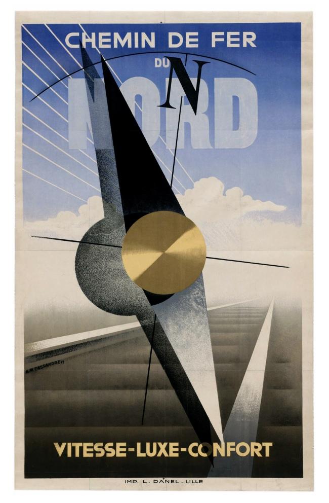 A. M. Cassandre (1901-1968) 'Chemin de Fer du Nord. Vitesse-Luxe-Comfort' (Northern Railway. Speed-Luxury-Comfort) 1929