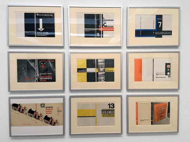 László Moholy-Nagy (Hungarian, 1895-1946) 'Umschläge zu den Bauhausbüchern, 1925-1930' (Covers for the Bauhaus books, 1925-1930) 1925-30 (installation view)