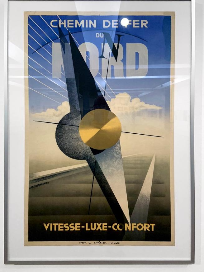 A. M. Cassandre (1901-1968) 'Chemin de Fer du Nord. Vitesse-Luxe-Comfort' (Northern Railway. Speed-Luxury-Comfort)1929 (installation view)