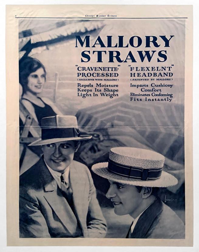 American advertisement. 'Mallory Straws' 1926