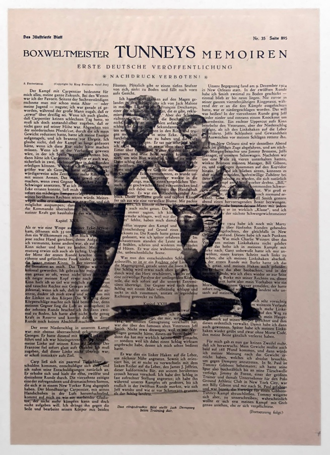 """Boxweltmeister Tunneys Memoiren (Boxing World Champion Tunney's Memoir)"" 1927 (installation view)"