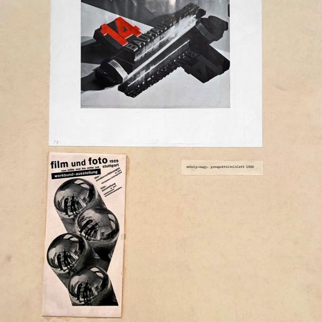 László Moholy-Nagy (Hungarian, 1895-1946) 'Prospekttitelblatt' (Prospectus title page) 1928 and 'film und foto' 1929 (installation view)