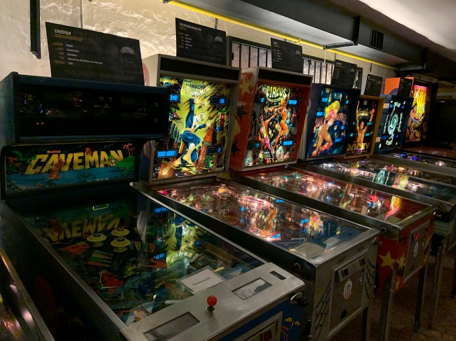 Installation view of the exhibition of pinball art at the Flippermúzeum, Budapest