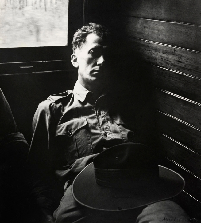 Max Dupain. 'Tired Soldier in Queensland Train' 1943