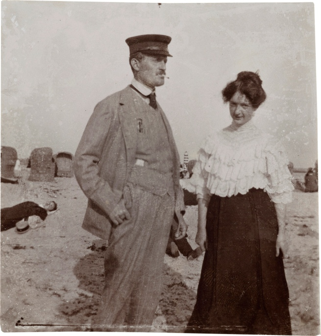 Edvard Munch (Norwegian, 1863-1944) 'Edvard Munch and Rosa Meissner on the Beach, Warnemünde' 1907