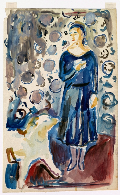 Edvard Munch (Norwegian, 1863-1944) 'Woman with a Samoyed' 1929-30