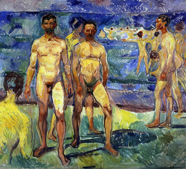 Edvard Munch (Norwegian, 1863-1944) 'Bathing Men' 1907-08
