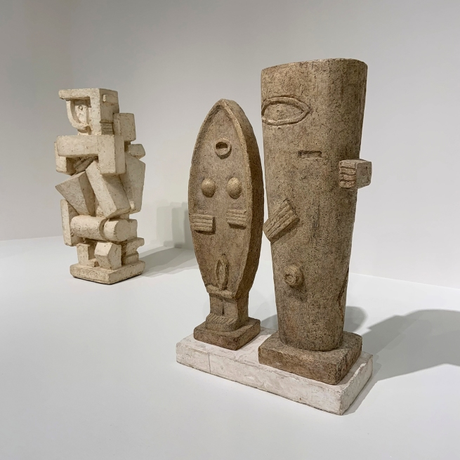 Alberto Giacometti (Swiss, 1901-1966) 'Cubist Figure I' c. 1926 (left) and 'The Couple' 1926 (right)