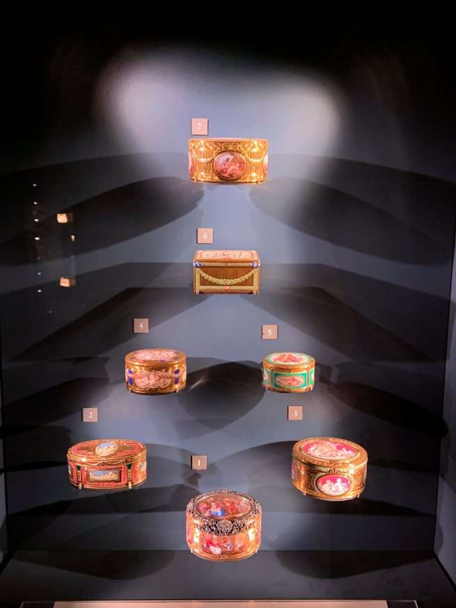 Installation view of French enamelled boxes, Louvre, Paris