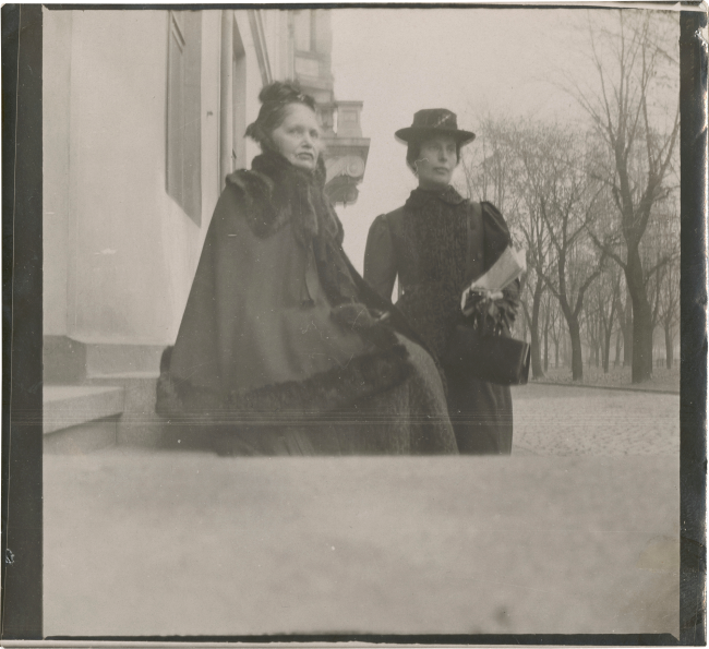 Edvard Munch (Norwegian, 1863-1944) 'Karen Bjølstad and Inger Munch on the steps of 2 & 4 Olaf Ryes Plass, Kristiania' 1902(?)