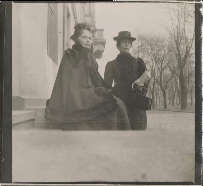 Edvard Munch (Norwegian, 1863-1944) 'Karen Bjølstad and Inger Munch on the steps of 2 & 4 Olaf Ryes Plass, Kristiania' 1902(?)