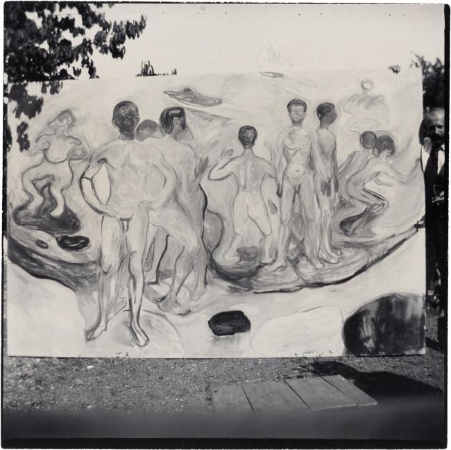 """Edvard Munch (Norwegian, 1863-1944) 'The Painting """"Bathing Young Men"""" in the Garden, Åsgårdstrand' 1904"""