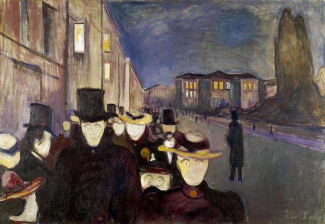 Edvard Munch (Norwegian, 1863-1944) 'Evening on Karl Johan' 1892