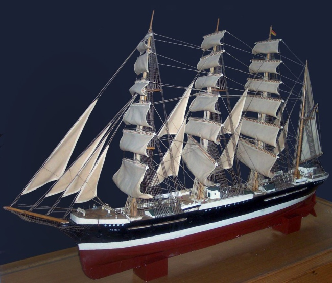 A model of Pamir, a four-masted barque