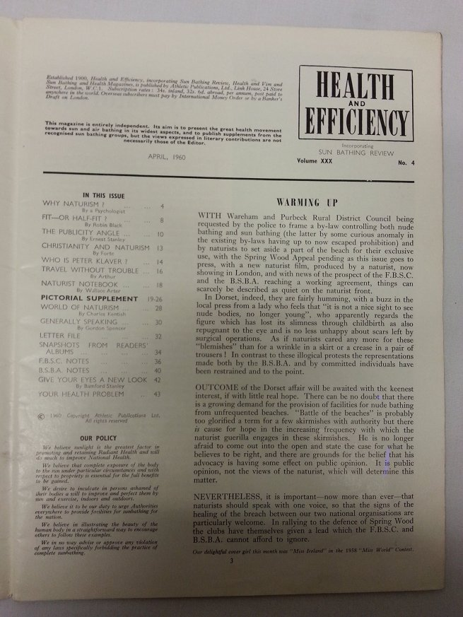Health and Efficiency April 1960