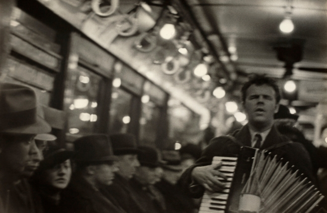 Walker Evans (American, 1903-1975) 'View Down Subway Car with Accordionist Performing in Aisle, New York City' 1938-1941
