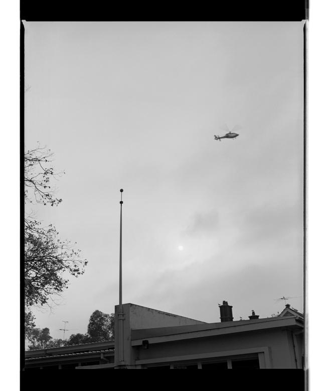Marcus Bunyan (Australian, b. 1958) 'Helicopter, flag pole and sun' 1994-96
