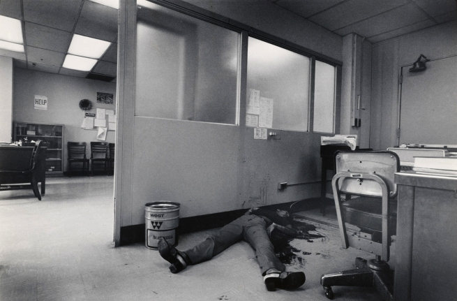 Leonard Freed (American, 1929-2006) 'New York: Woman killed by her boyfriend at her place of employment' 1972