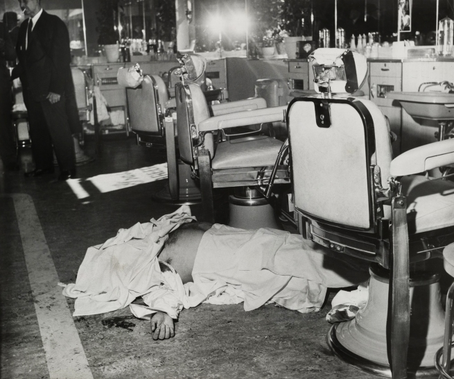 Meyer Liebowitz (American, 1906-1976) / The New York Times. 'Umberto (Albert) Anastasia Shot to Death in Barber's Chair' October 25, 1957