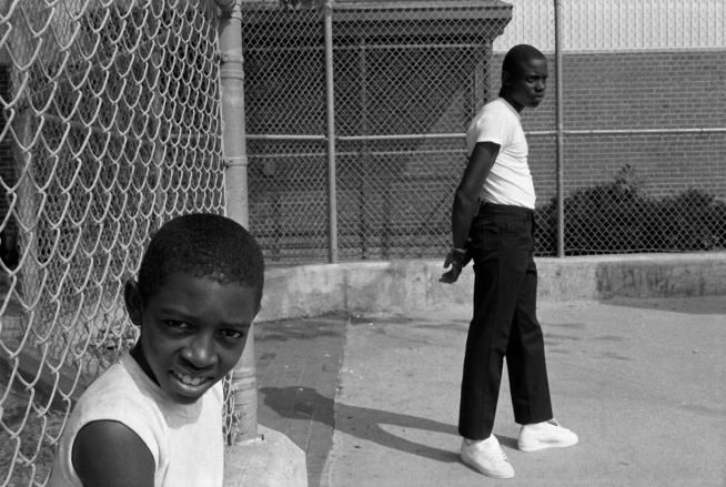 Dawoud Bey (American, b. 1953) 'Two Boys at a Handball Court, Syracuse, NY, 1985' 1985