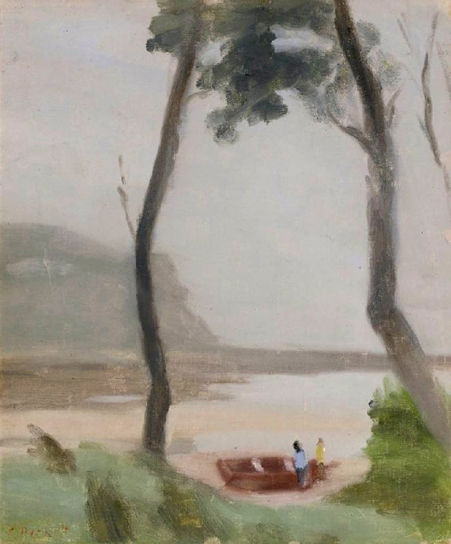 Clarice Beckett (Australia, 1887-1935) 'Early Morning (The Fishermen)' c. 1930