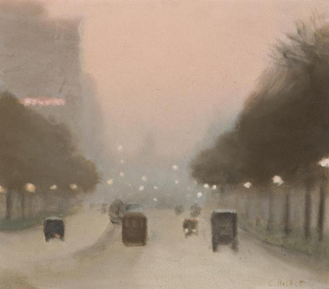 Clarice Beckett (Australia, 1887-1935) 'Evening, St Kilda Road' c. 1930