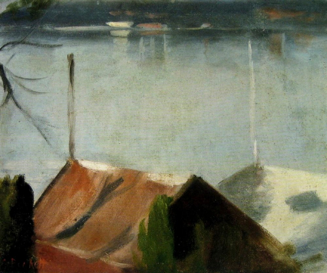 Clarice Beckett (Australia, 1887-1935) 'From the Boatshed Roof' Nd