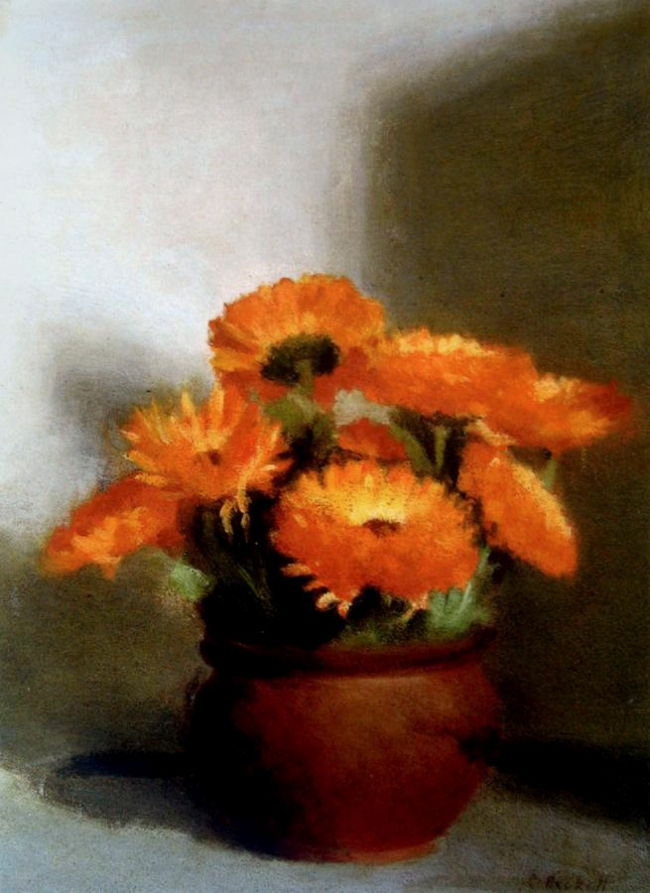 Clarice Beckett (Australia, 1887-1935) 'Marigolds' c. 1925
