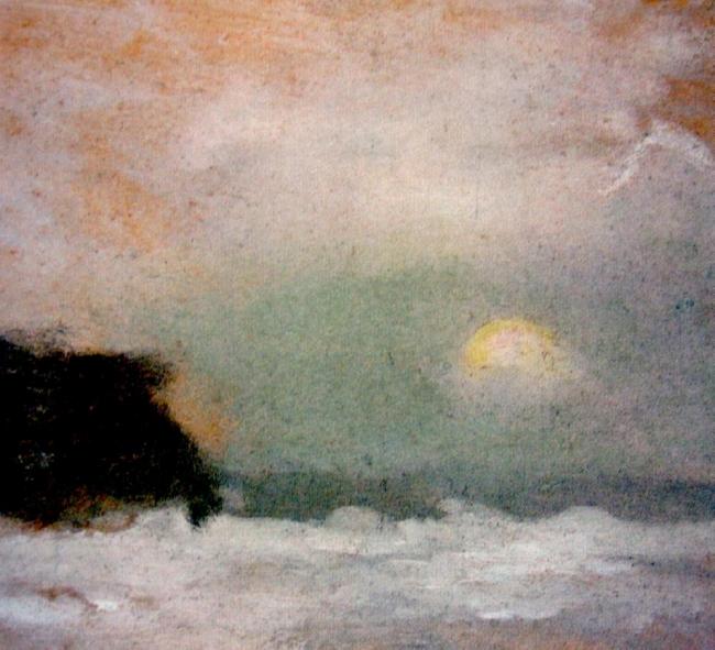 Clarice Beckett (Australia, 1887-1935) 'Moonrise Beaumaris, Sunset and Trees' Nd