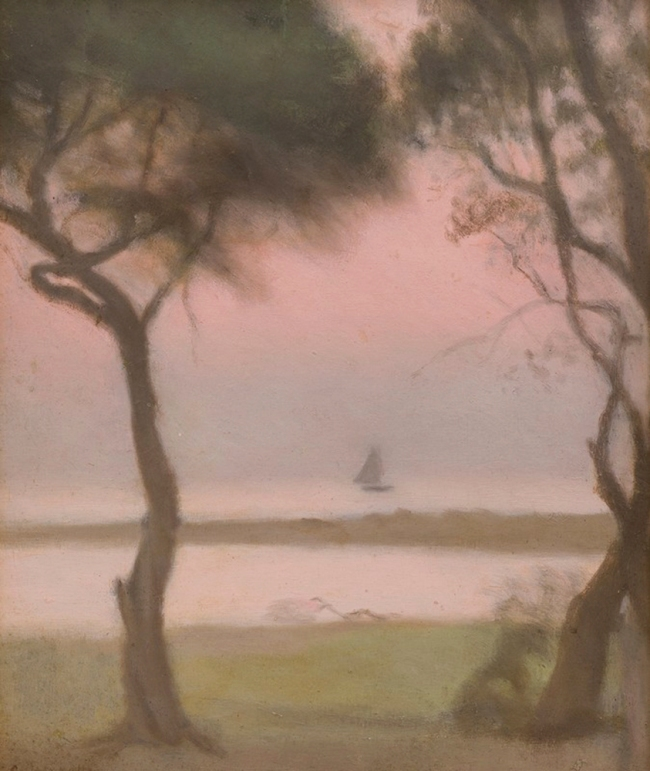 Clarice Beckett (Australia, 1887-1935) 'Yacht at Sunset' c. 1928