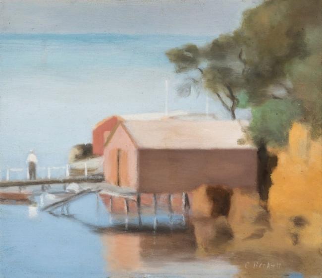 Clarice Beckett (Australia, 1887-1935) 'Boatshed, Beaumaris' c. 1928
