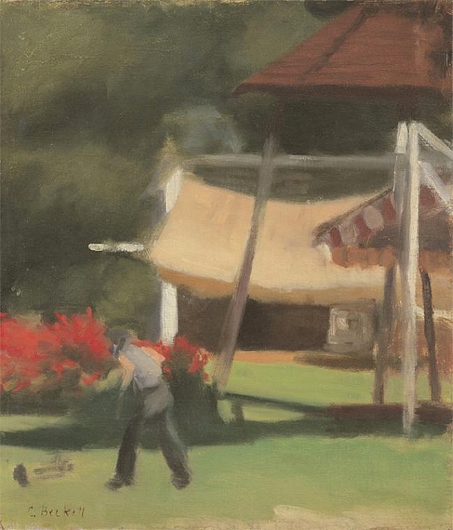 Clarice Beckett (Australia, 1887-1935) 'Hawthorn Tea Gardens' 1933