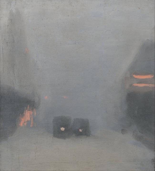 Clarice Beckett (Australia, 1887-1935) 'Passing trams' c. 1931