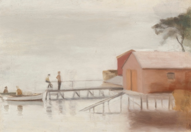 Clarice Beckett (Australia, 1887-1935) 'The boatshed' 1929