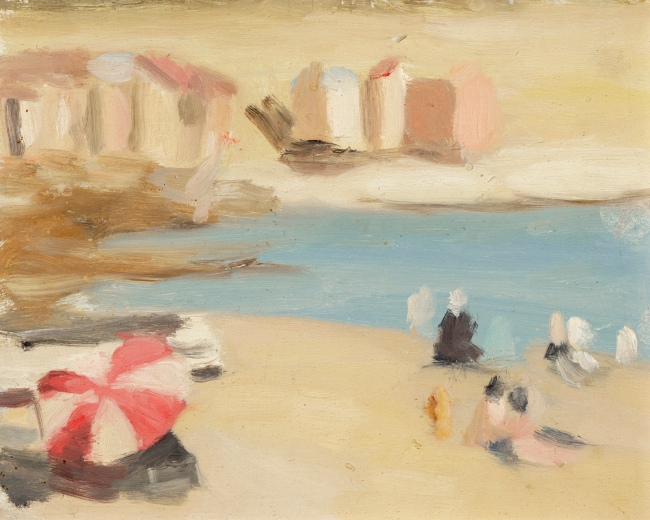Clarice Beckett (Australia, 1887-1935) 'Bathing boxes, Brighton' 1933