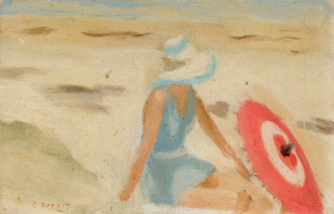 Clarice Beckett (Australia, 1887-1935) 'The red sunshade' 1932