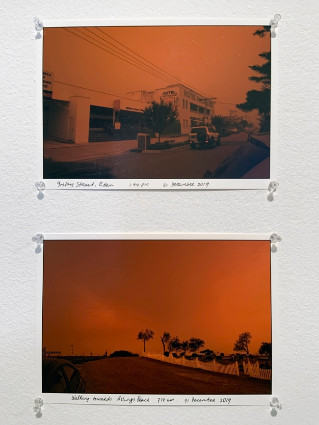 Ruth Maddison (Australian, b. 1945) 'Imlay Street, Eden 1.44 pm 31 December 2019' and 'Walking towards Aslings Beach 7.14 am 31 December 2019' 2019 (installation view)