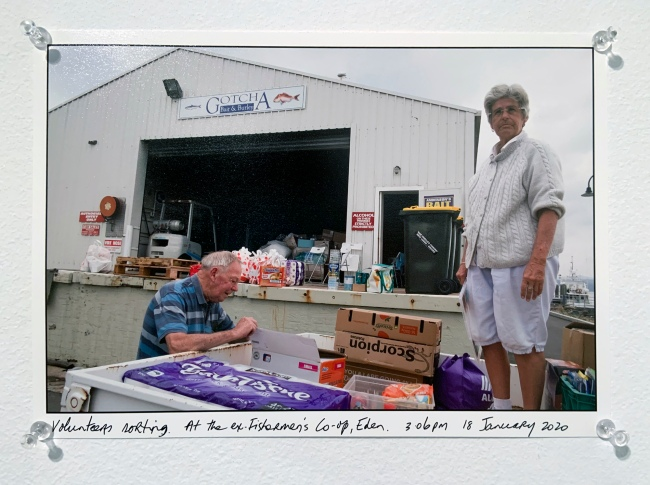 Ruth Maddison (Australian, b. 1945) 'Volunteers sorting. At the Fishermen's Co-op, Eden. 3.06 pm 18 January 2020' 2020 (installation view)