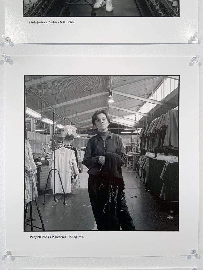 Ruth Maddison (Australian, b. 1945) 'Mary Marcoftsis. Macedonia - Melbourne' 1997 (installation view)