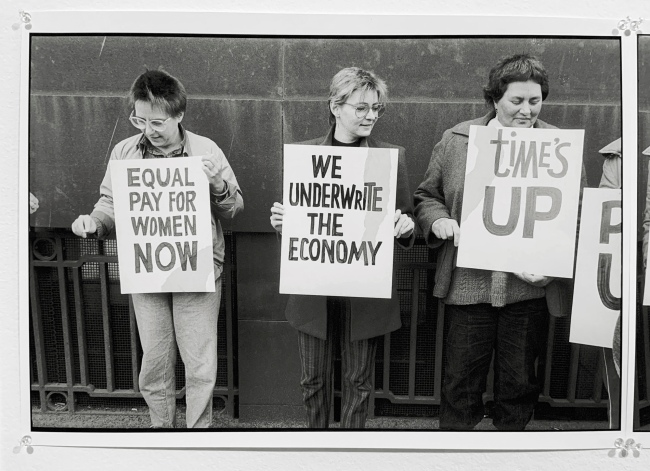 Ruth Maddison (Australian, b. 1945) 'Equal pay demo, Bourke Street Melbourne' 1985 (installation view)